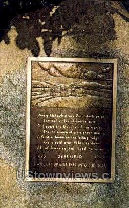 Memorial Plaque, Pine Hill - Deerfield, Massachusetts MA Postcard