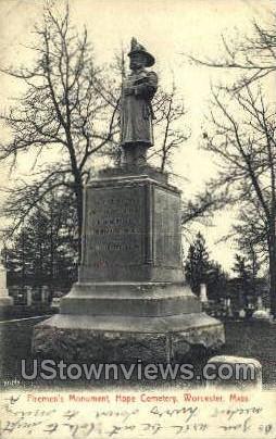 Firemen's Monument, Hope Cemetery - Worcester, Massachusetts MA Postcard