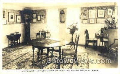 Real Photo - Parlor, Longfellow's Wayside Inn - South Sudbury, Massachusetts MA Postcard