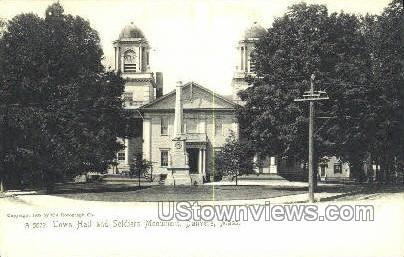 Town Hall, Soldiers Monument - Danvers, Massachusetts MA Postcard
