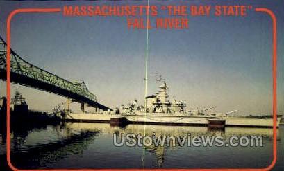 USS Mass. BB - Fall River, Massachusetts MA Postcard