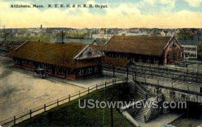 NY NH & HRR Depot - Attleboro, Massachusetts MA Postcard