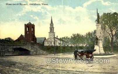 Monument Square - Attleboro, Massachusetts MA Postcard