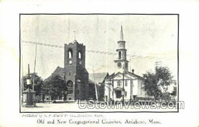 Old & New Congregational Churches - Attleboro, Massachusetts MA Postcard