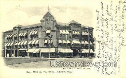 Bates Block & Post Office - Attleboro, Massachusetts MA Postcard
