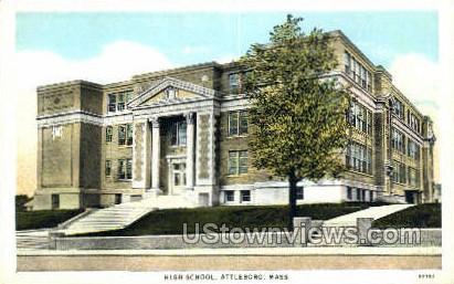 High School, Attleboro - Massachusetts MA Postcard