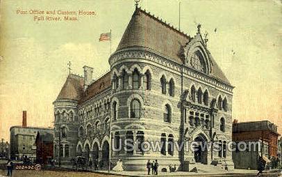Post Office, Custom House - Fall River, Massachusetts MA Postcard