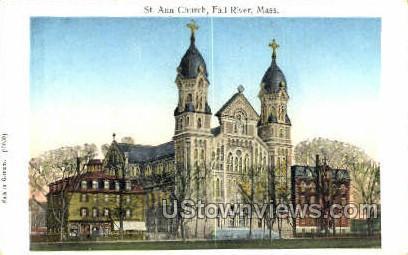 Copper Windows on card, St Ann Church - Fall River, Massachusetts MA Postcard