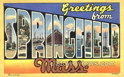 Springfield, Mass     ;     Springfield, Massachusetts Postcard