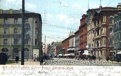 Main St, Court Square - Springfield, Massachusetts MA Postcard