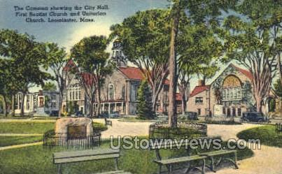 City Hall, First Baptist Church - Leominster, Massachusetts MA Postcard