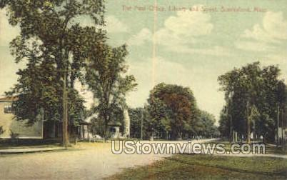 Post Office, Library & Street - Sunderland, Massachusetts MA Postcard