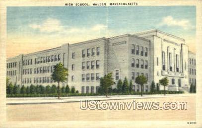 High School, Malden - Massachusetts MA Postcard