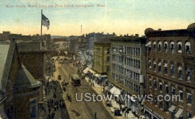 Main Street, Post Office - Springfield, Massachusetts MA Postcard