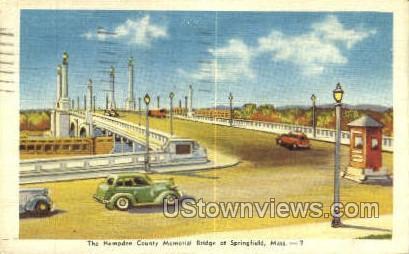Hampden County Memorial Bridge - Springfield, Massachusetts MA Postcard