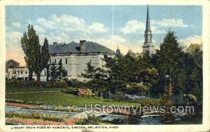 Library, Robbins Memorial Garden - Arlington, Massachusetts MA Postcard