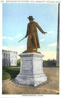 Monument of Col. WM Prescott, Bunker Hill - Charlestown, Massachusetts MA Postcard
