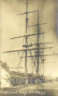 Real Photo - Old School Ship St Mary - Misc, Massachusetts MA Postcard