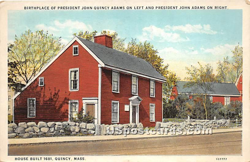 Birthplace of President John Quincy Adams - Massachusetts MA Postcard