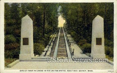 First Railroad in US - Quincy, Massachusetts MA Postcard