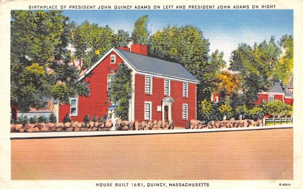 Birthplace of President John Quincy Adams on left Massachusetts Postcard