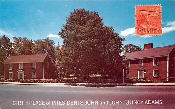 Birthplace of President John & John Quincy Adams Massachusetts Postcard