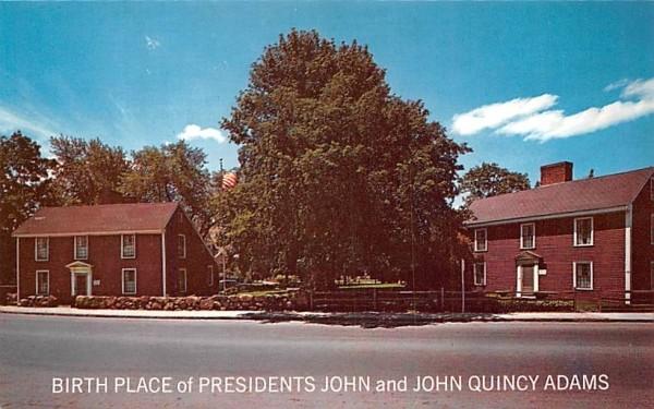 Birth Place of Presidents John & John Quincy Adams Massachusetts Postcard
