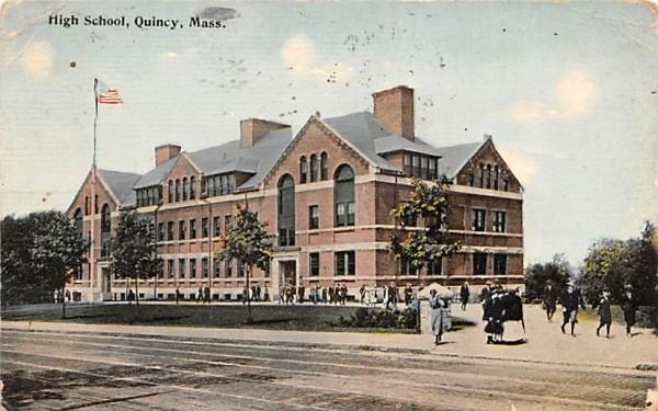 High School Quincy, Massachusetts Postcard