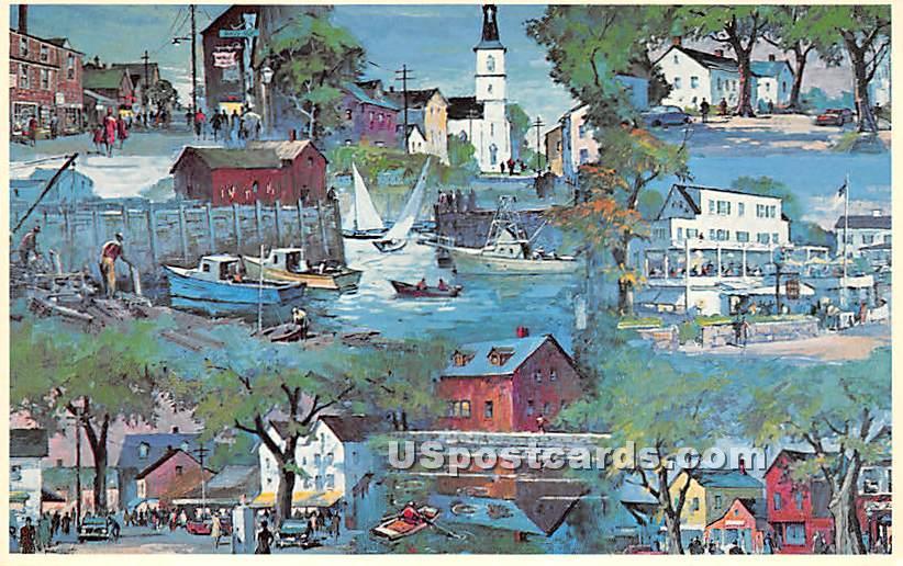 Montage showing Bearskin Neck - Rockport, Massachusetts MA Postcard