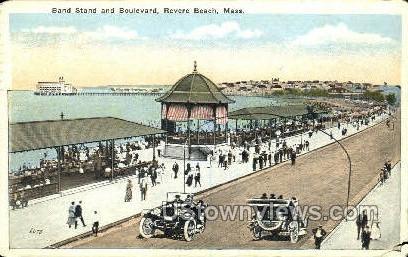 Band Stand & Blvd. - Revere Beach, Massachusetts MA Postcard