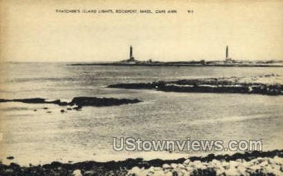 Thatcher's Island Lights - Rockport, Massachusetts MA Postcard