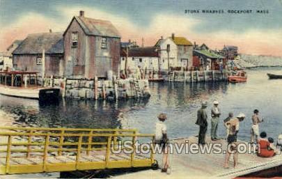 Stone Wharves - Rockport, Massachusetts MA Postcard