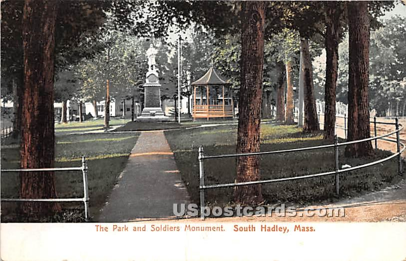 The Park & Soldiers Monument - South Hadley, Massachusetts MA Postcard
