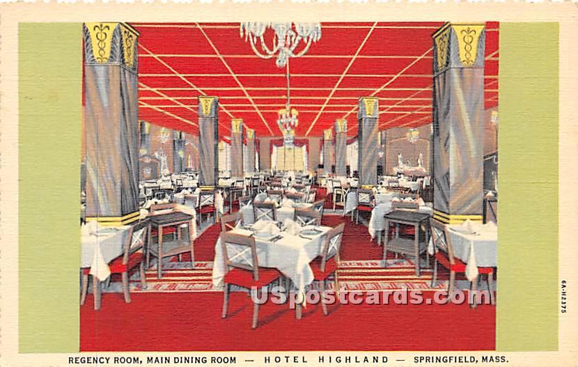 Hotel Highland - Springfield, Massachusetts MA Postcard