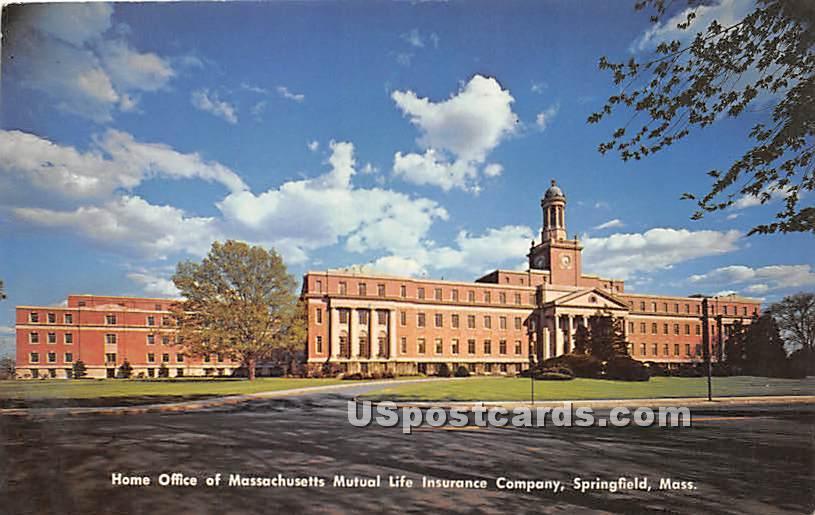 Home Office of Massachusetts Mutual Life Insurance Company - Springfield Postcard