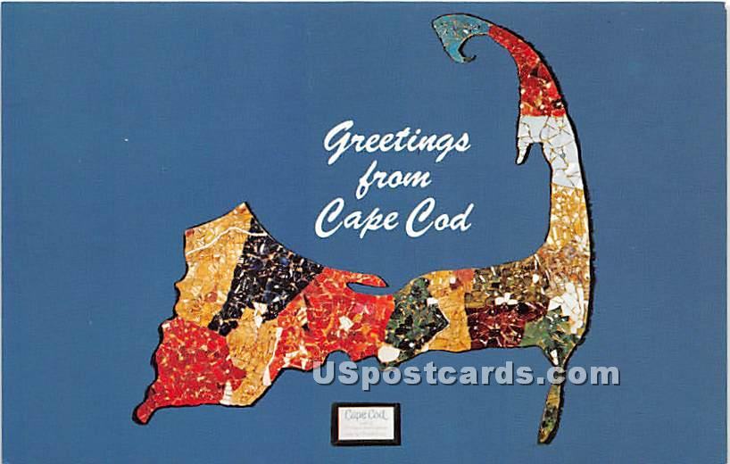 Cape Cod Glass Mosaic Map - Sandwich, Massachusetts MA Postcard