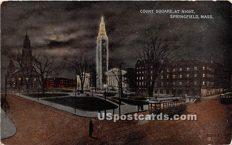 Court Square at Night - Springfield, Massachusetts MA Postcard