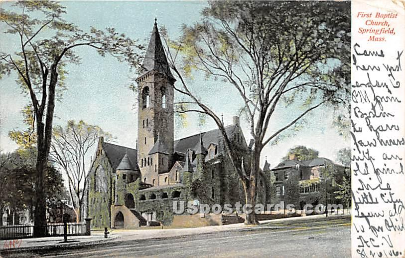 First Baptist Church - Springfield, Massachusetts MA Postcard