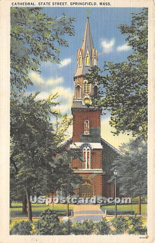 Cathedral and State Street - Springfield, Massachusetts MA Postcard