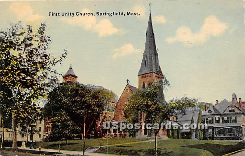 First Unity Church - Springfield, Massachusetts MA Postcard