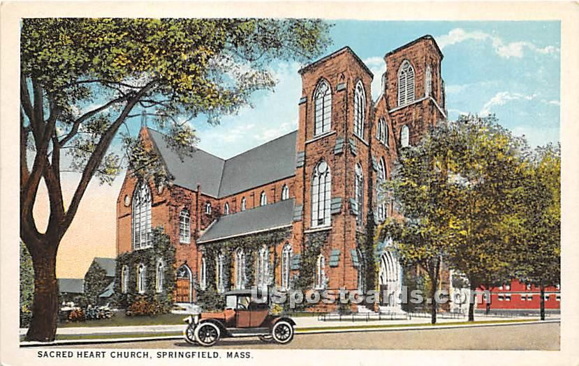 Sacred Heart Church - Springfield, Massachusetts MA Postcard