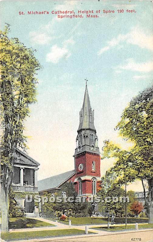 St Michael's Cathedral - Springfield, Massachusetts MA Postcard