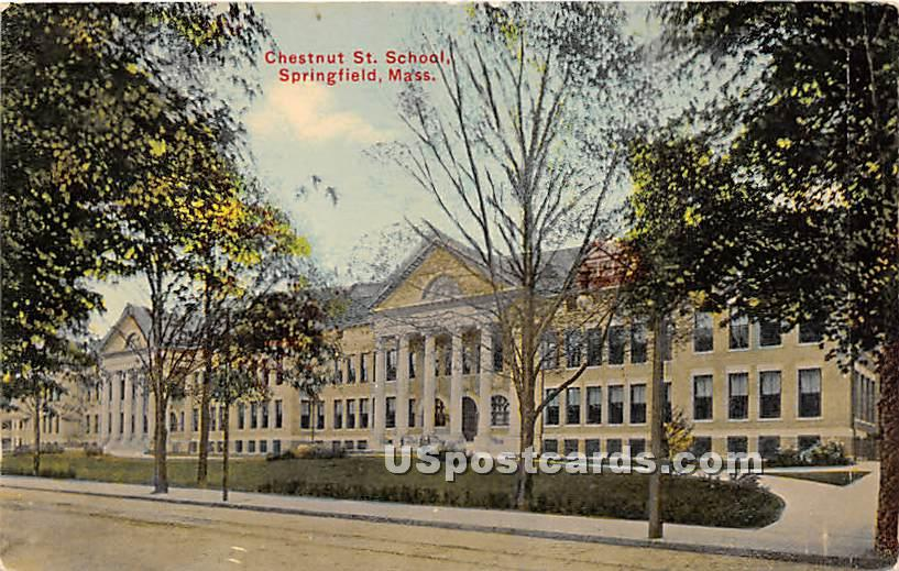 Chestnut Street School - Springfield, Massachusetts MA Postcard