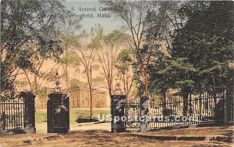 S Arsenal Gates - Springfield, Massachusetts MA Postcard