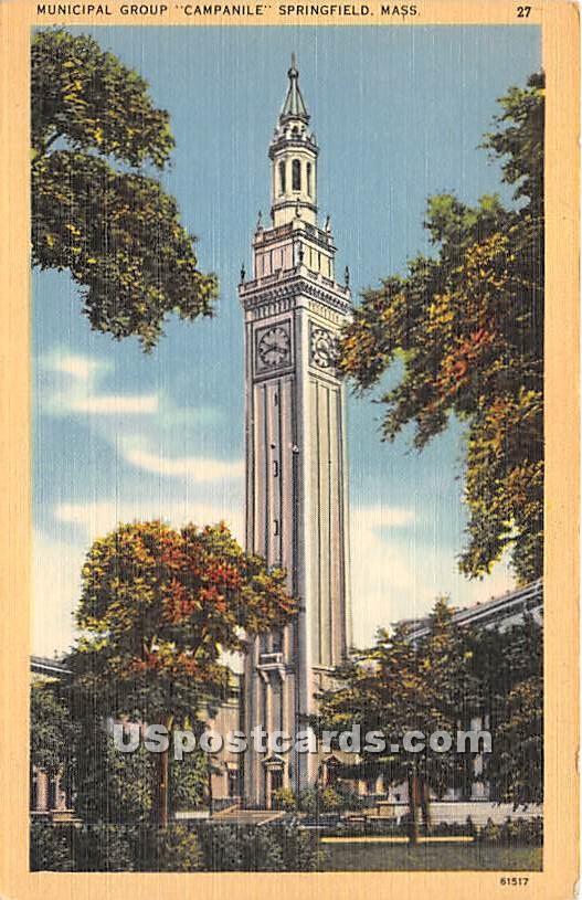Municipal Group Campanile - Springfield, Massachusetts MA Postcard