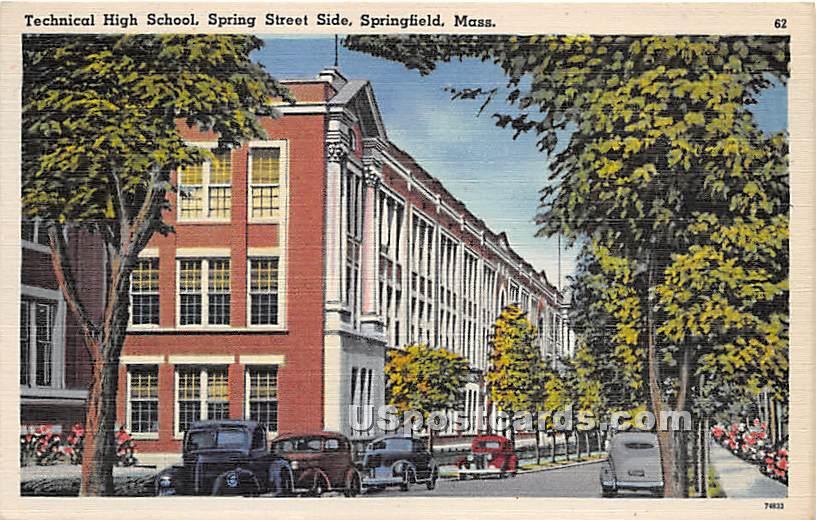 Technical High School and Spring Street Side - Springfield, Massachusetts MA Postcard