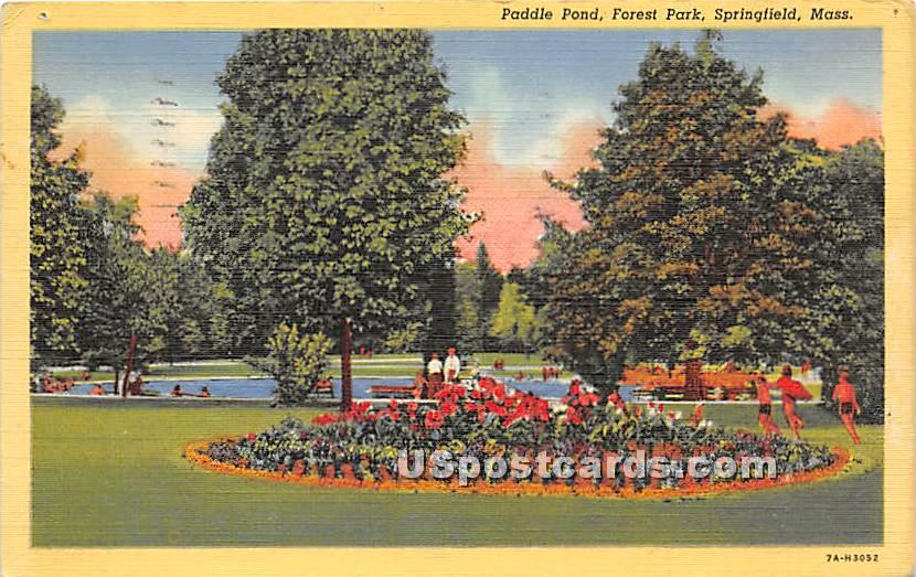 Paddle Pond at Forest Park - Springfield, Massachusetts MA Postcard