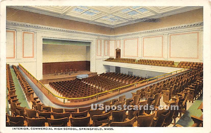 Interior of Commercial High School - Springfield, Massachusetts MA Postcard
