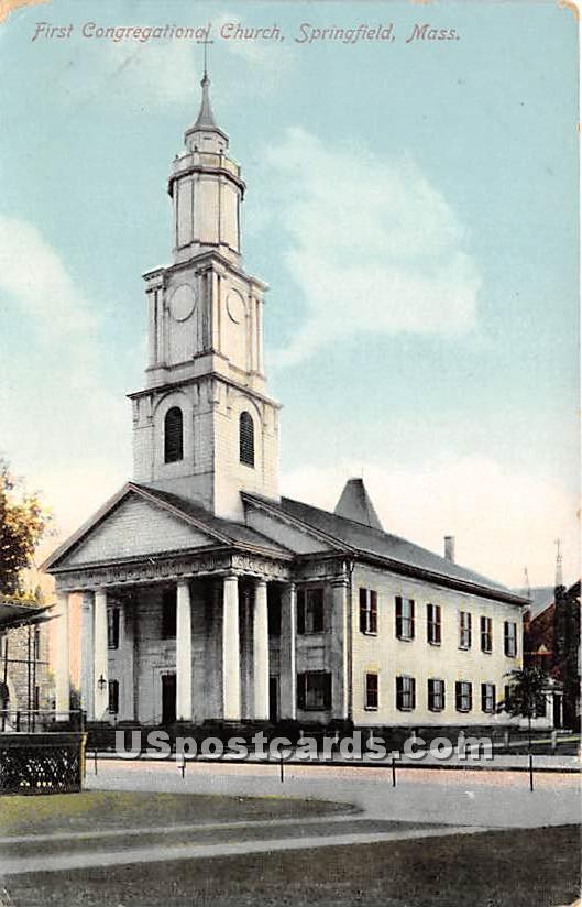 First Congregational Church - Springfield, Massachusetts MA Postcard