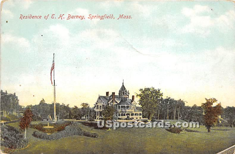 Residence of E H Barney - Springfield, Massachusetts MA Postcard